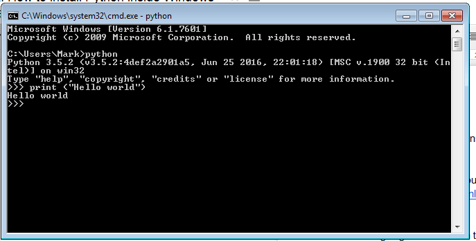 Command Prompt Windows python setup